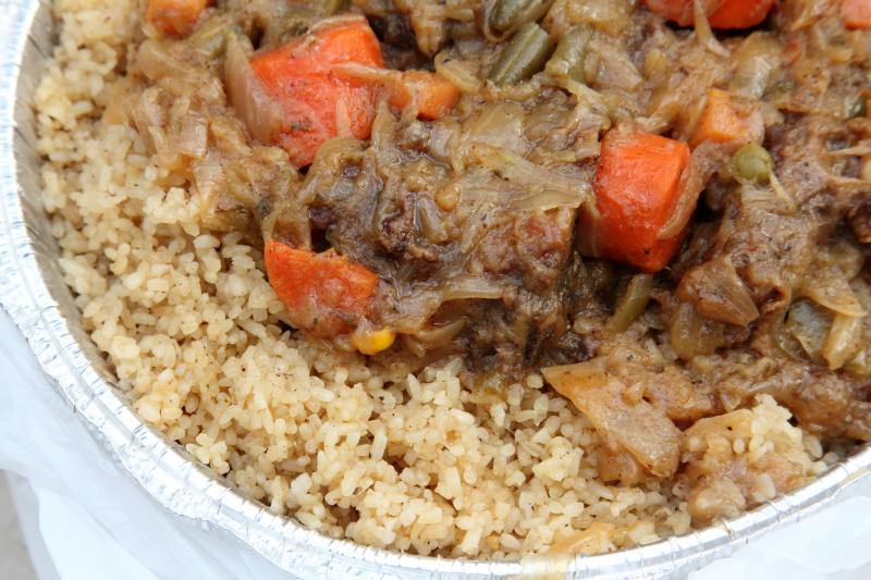 Ivorian joloff rice (riz gras)  Express African Halah Restaurant  Concourse Village  Bronx