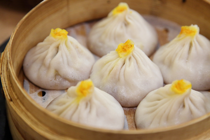 Crab-and-pork xiao long bao (after steaming)  Memories of Shanghai  Forest Hills  Queens