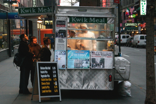 The Kwik Meal cart  West 45th St  Manhattan