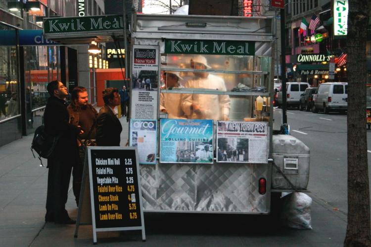 The Kwik Meal cart  West 45th St  Manhattan