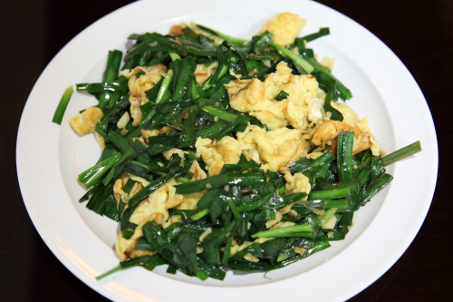 Stir-fried egg and chive  Tengri Tagh Uyghur Cuisine  West 37th St  Manhattan