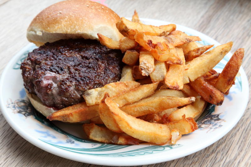 Burger and fries  Peter Luger  Williamsburg  Brooklyn