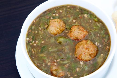 Okra sauce and meatballs  Green Garden  East 9th St  Manhattan
