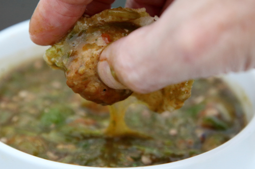 Okra sauce  meatballs  and kissar  Green Garden  East 9th St  Manhattan