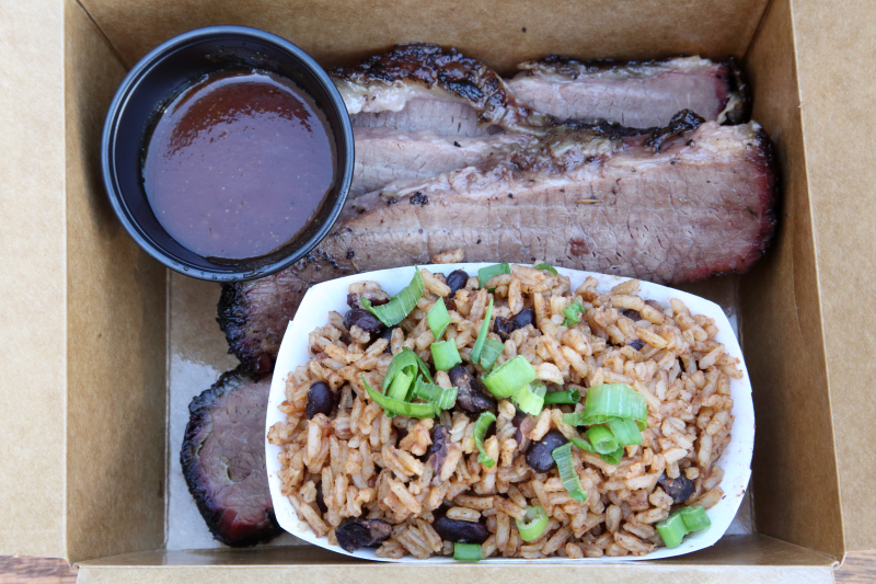 Brisket (lean) and arroz congrí  Bark Barbecue  pop-up at Bridge and Tunnel Brewery  Ridgewood  Queens