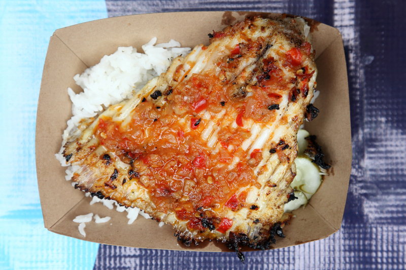 Grilled skate wing with sambal belacan  Sea Monster NYC popup  Grand St  Manhattan