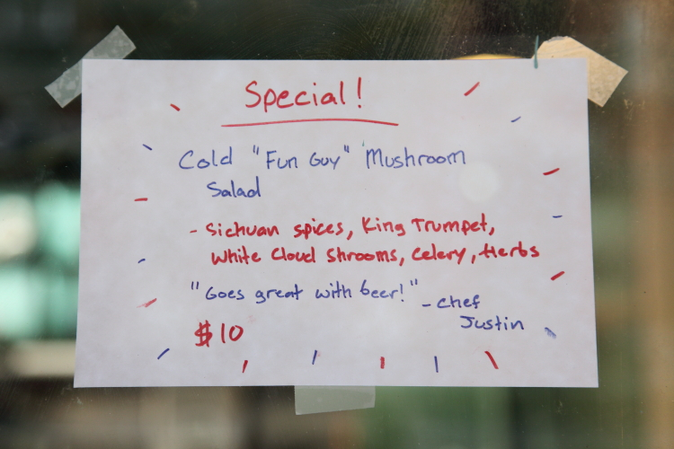 Cold fun guy mushroom salad  handwritten sign  Fat Choy  Broome St  Manhattan