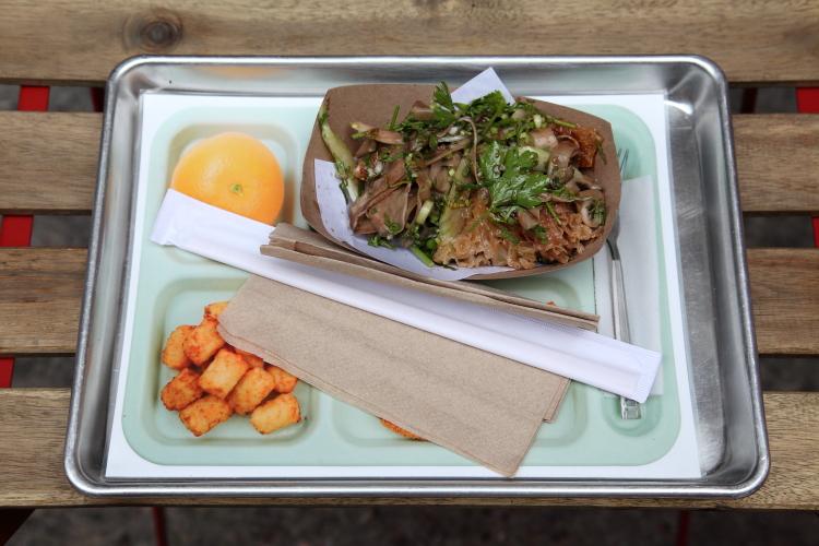 Cold fun guy mushroom salad on school-lunchroom placemat  Fat Choy  Broome St  Manhattan