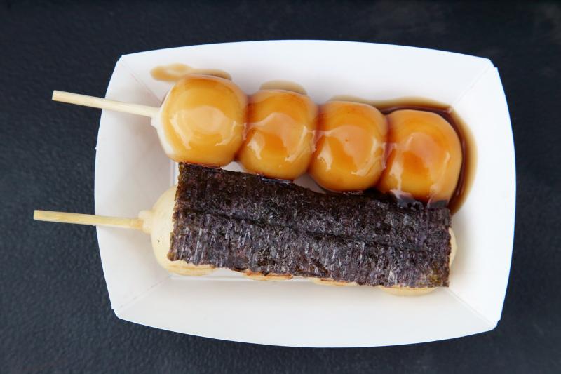 Sweet and savory grilled dango  Japanese rice-flour dumplings  Oh Dango!  Queens Night Market  Corona  Queens