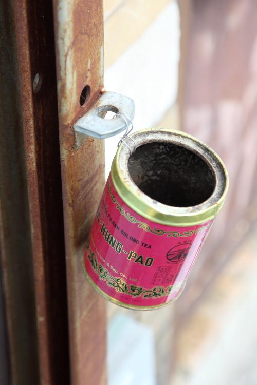 Tea tin repurposed as ashtray  Sunset Park  Brooklyn