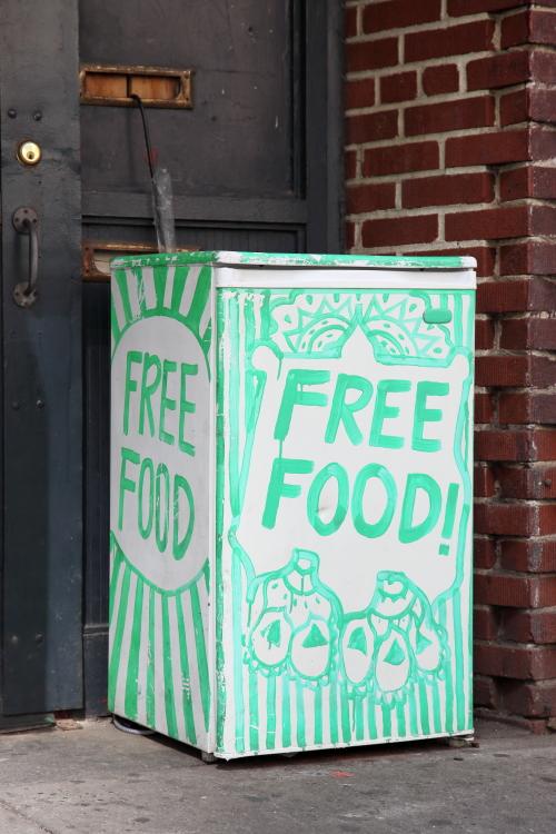 Free food  hand-painted community fridge  Downtown Brooklyn