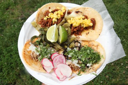 Tacos al pastor and de carnitas  Tacos La Gringa of Bloomfield  New Jersey  at the Guelaguetza NYC Festival  Socrates Sculpture Park  Astoria  Queens