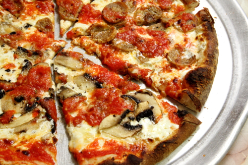Half sausage  half mushroom and garlic pizza  Totonno's  Coney Island  Brooklyn